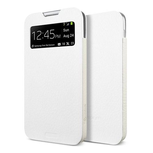 Spigen Sgp Samsung Galaxy S4 i9500 Leather Pouch Crumena View Beyaz