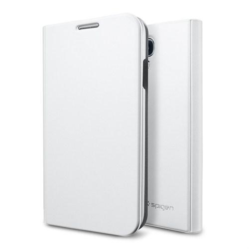 Spigen Sgp Samsung Galaxy S4 i9500 Slim Wallet Kılıf - Metalic White