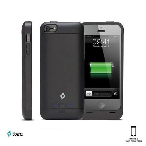 Ttec Caffeine Şarj Kılıfı iPhone 5/5s Siyah 2SK1001S (MFI)