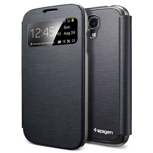 Spigen Sgp Samsung Galaxy S4 i9500 Kılıf Ultra Flip View Metallic Black
