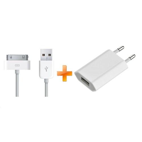 Apple iPhone 4 / 4S / iPad / iPad 2 Usb Power Adapter + Data Kablosu