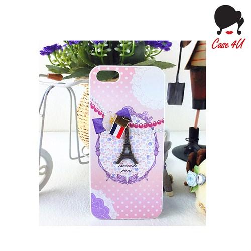 Case 4U Ladies Apple iPhone 5/5s Paris Love Pembe Arka Kapak