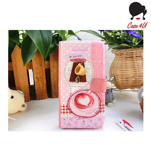 Case 4U Ladies Apple iPhone 5/5s Coffee Love Standlı Cüzdan Kılıf