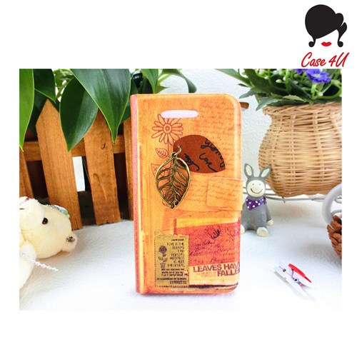 Case 4U Ladies Apple iPhone 5/5s Summer Leaves Standlı Cüzdan Kılıf*
