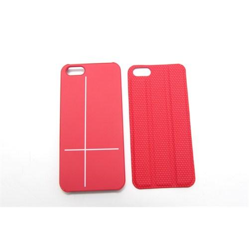 iSenri Smart Cover Suni Deri iPhone 5/5s Kılıf ve Standı (Kırmızı)