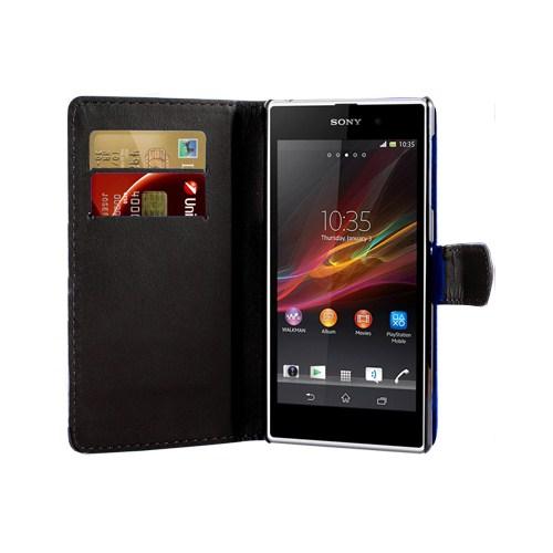 Microsonic Cüzdanlı Suni Deri Kılıf - Sony Xperia Z1 - Siyah