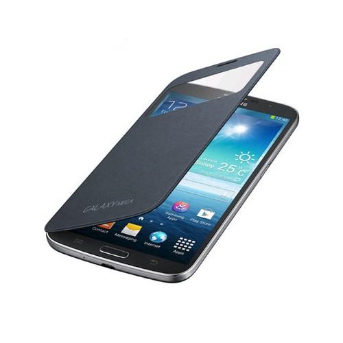 Microsonic View Cover Delux Kapaklı Kılıf Samsung Galaxy Mega 6.3 i9200 Siyah