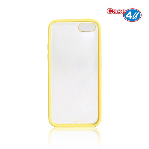 Case 4U iPhone 5c Şeffaf Sarı Tpu + Kristal Kapak