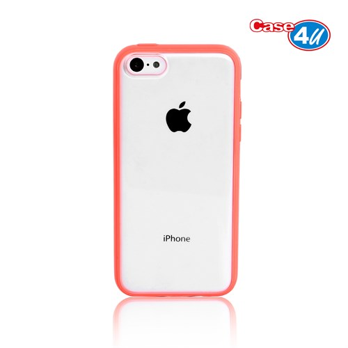 Case 4U iPhone 5c Şeffaf Pembe Tpu + Kristal Kapak
