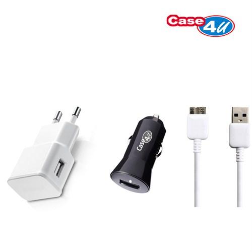 Case 4U Samsung Galaxy Note 3 N9000 Ev ve Araç + Data Kablosu Seti