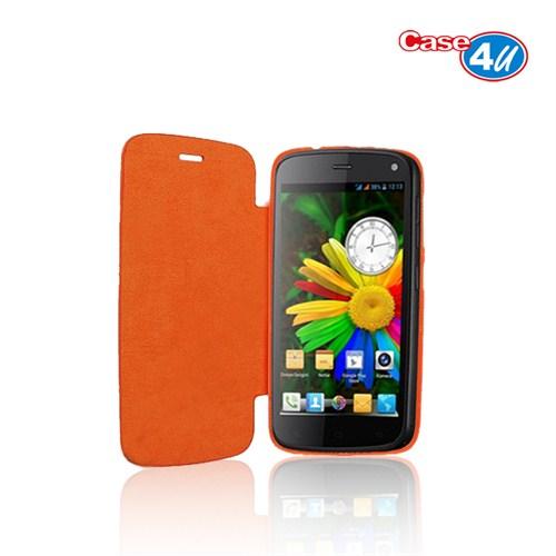 Case 4U General Mobile Discovery Flip Cover Turuncu