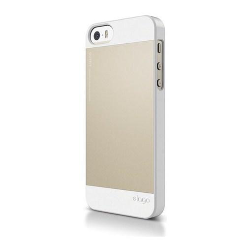 Elago Apple iPhone 5/5S Aliminyum Alaşımlı Ultra İnce Kılıf Beyaz - Altın (Ekran Koruyucu Hediye)