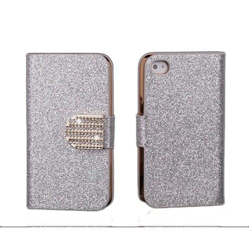 Microsonic Pearl Simli Taşlı Suni Deri Kılıf - iPhone 4s Beyaz