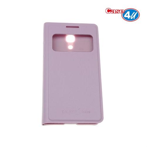 Case 4U Samsung S4 Mini i9190 Pencereli Flip Cover Pembe