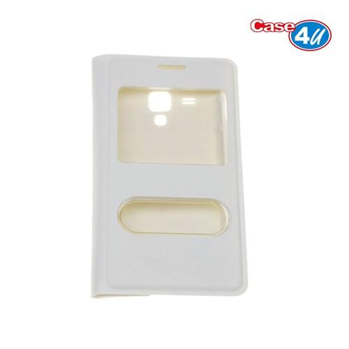 Case 4U Samsung S7390 Trend Lite Pencereli Flip Cover Beyaz