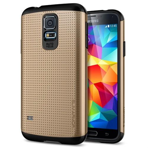Spigen Samsung Galaxy S5 Slim Armor Kılıf - Copper Gold