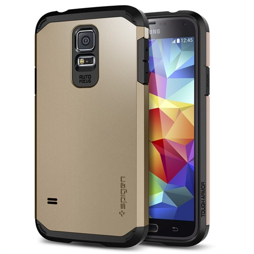 Spigen Sgp Samsung Galaxy S5 Tough Armor Kılıf - Copper Gold