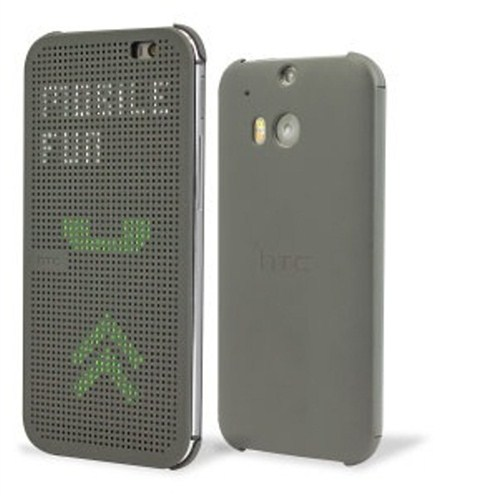 HTC One M8 Dot View Flip Case Gri Kılıf Orjinal- 99H11415-00