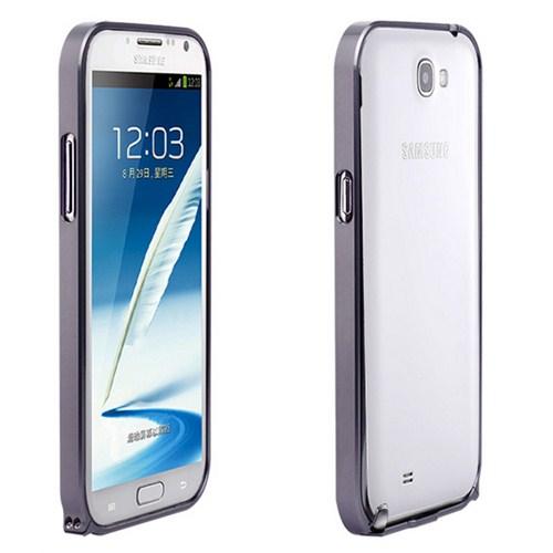 Microsonic Samsung Galaxy Note 2 N7100 Ultra Thin Metal Bumper Kılıf Siyah - Cs180-Mtl-Bmp-Glx-Note2-Syh