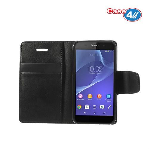 Case 4U Sony Xperia Z2 Siyah Cüzdan Kılıf