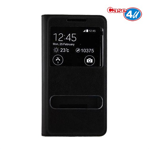Case 4U HTC Desire 616 Dual Sim Pencereli Flip Cover Siyah