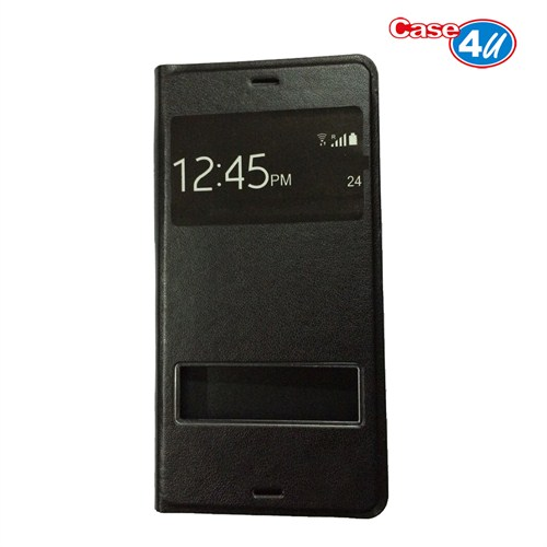 Case 4U Sony Xperia Z3 Pencereli Flip Cover Siyah