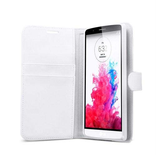 Microsonic LG G3 Kılıf Cüzdanlı Suni Deri Beyaz-CS150-WLT-LG-G3-BYZ