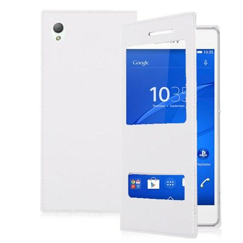 Microsonic Sony Xperia Z3 Dual View Delux Kapaklı Kılıf Beyaz-CS150-2V-DLX-XPR-Z3-BYZ