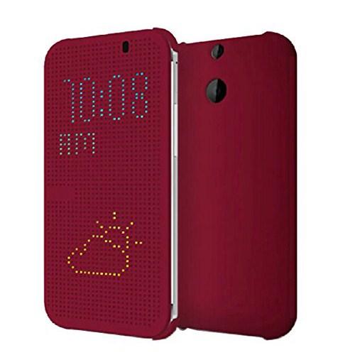 Microsonic HTC One E8 View Cover Dot Delux Kapaklı Kılıf Akıllı Modlu Kırmızı-CS150-V-DLX-DOT-HTC-E8