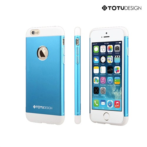 Totu Design Apple iPhone 6 Knight Series Metal Arka Kapak Mavi