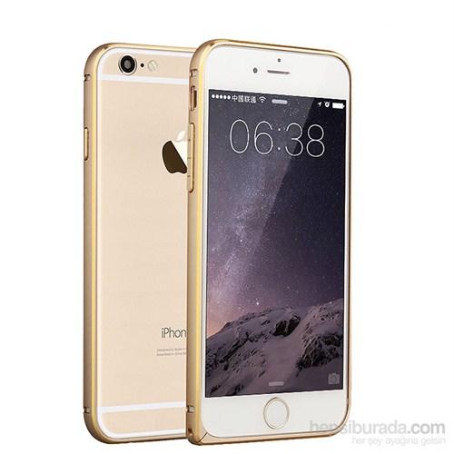 Case 4U Apple iPhone 6 Ultra Thin Metal Çerçeve Gold