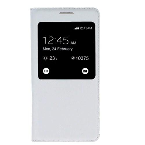 Case 4U Samsung Galaxy Alpha Kapaklı Kılıf Beyaz