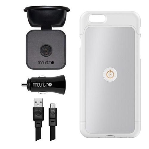 Mountr iPhone 6 Uyumlu Akıllı Araç Tutacağı ( Gümüş Renk Kapak ) - SK-SCM-i6S