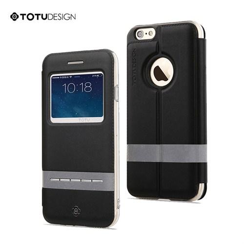 TotuDesign Apple iPhone 6 Plus Manyetik Kapaklı Siyah (Suni Deri) Kılıf Apple