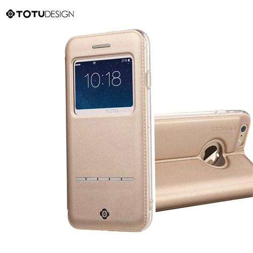 Totu Design Apple iPhone 6 Plus Manyetik Kapaklı Gold (Suni Deri) Kılıf