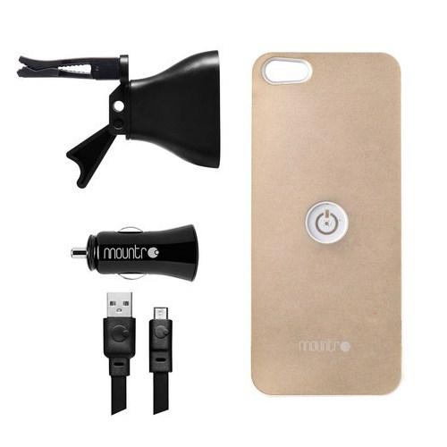 Mountr iPhone 5/5S Uyumlu Akıllı Araç Tutacağı ( Altın Renk Kapak ) - SK-AVM-i5A