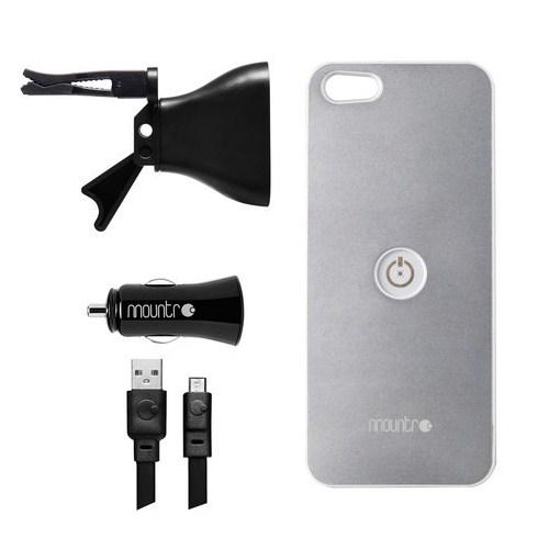 Mountr iPhone 5/5S Uyumlu Akıllı Araç Tutacağı ( Gümüş Renk Kapak ) - SK-AVM-i5S
