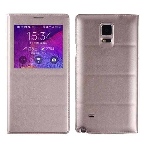 Microsonic View Padding Kapaklı Samsung Galaxy Note 4 Kılıf (Akıllı Modlu) Sarı - CS150-V-PDDNG-GLX-