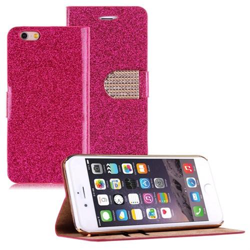 Microsonic iPhone 6 Plus (5.5) Pearl Simli Taşlı Suni Deri Pembe - CS150-PRL-IP6P-PMB