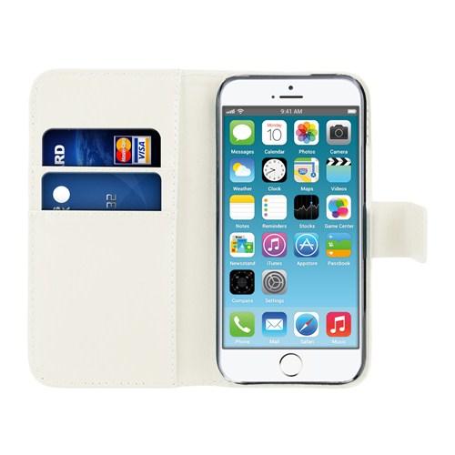Microsonic iPhone 6 Plus (5.5) Cüzdanlı Suni Deri Kılıf Beyaz - CS150-WLT-IP6P-BYZ