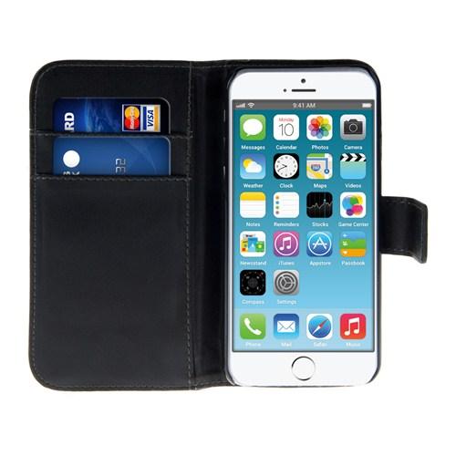 Microsonic iPhone 6 Plus (5.5) Cüzdanlı Suni Deri Kılıf Siyah - CS150-WLT-IP6P-SYH