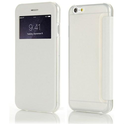 Microsonic iPhone 6 Plus (5.5) View Cover Delux Kapaklı Kılıf Beyaz - CS150-V-DLX-IP6P-BYZ