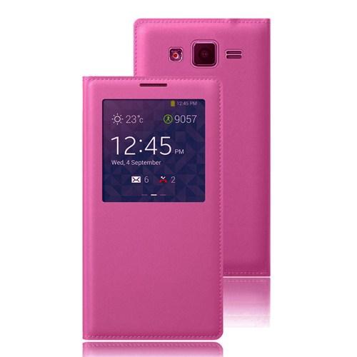 Case 4U Samsung Galaxy Grand Prime Pencereli Flip Cover Pembe