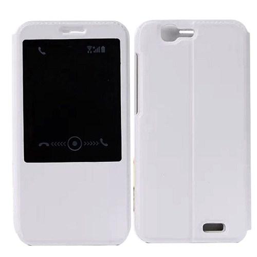 Case 4U Huawei Ascend G7 Pencereli Flip Cover Beyaz Kılıf