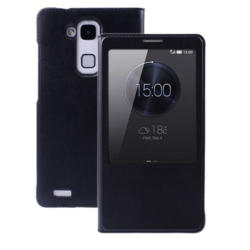 Microsonic View Slim Kapaklı Suni Deri Huawei Ascend Mate 7 Kılıf Siyah - CS150-V-SLIM-HW-MATE7-SYH