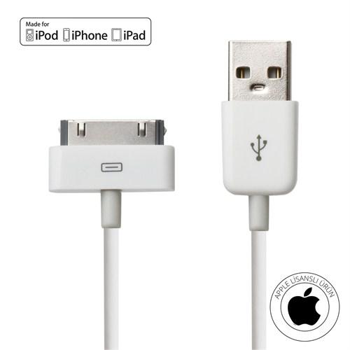 Mirax iPhone 4/4S/iPad/iPod Şarj ve Data Kablosu (Orijinal Apple Lisanslı) - mirax SDE- 4100