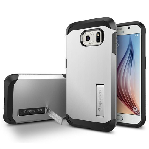 Spigen Samsung Galaxy S6 Kılıf Tough Armor - Satin Silver - SGP11339
