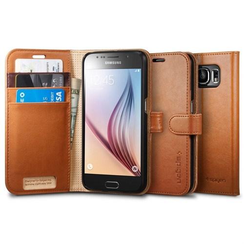 Spigen Samsung Galaxy S6 Kılıf Wallet S (Cüzdan) - Brown - 11350