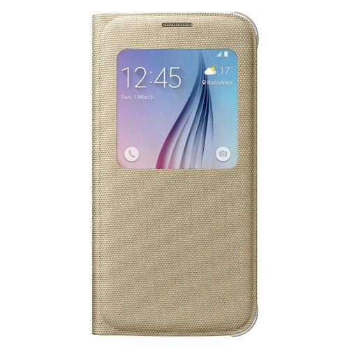 Samsung Galaxy S6 S View Cover Fabric Gold Kılıf - EF-CG920BFEGWW
