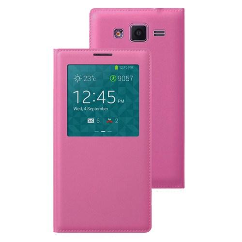 Case 4U Samsung Galaxy Core Prime G360 Pencereli Flip Cover Pembe Kılıf